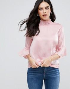 Топ из жатой ткани с воротником-стойкой и длинными рукавами AX Paris - Розовый