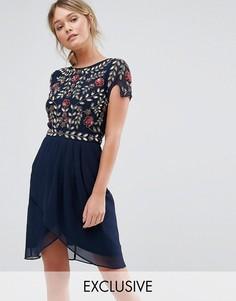 Платье миди с декоративной отделкой и запахом Frock and Frill - Темно-синий