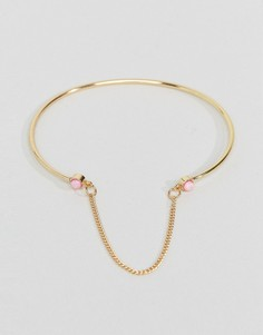 Браслет-манжет с цепочкой и искусственным опалом ASOS - Золотой