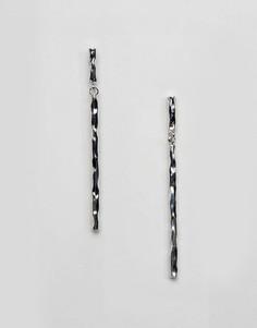 Серьги-подвески ограниченной серии с фактурной планкой - Серебряный Asos