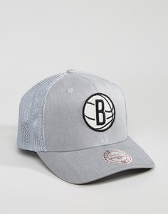 Кепка Mitchell & Ness 110 Flexfit Brooklyn Nets - Серый