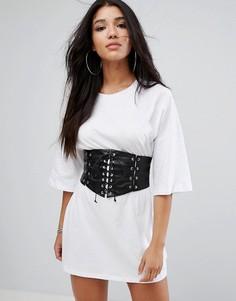 Платье -футболка с корсетом на талии Glamorous - Белый