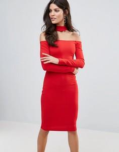 Платье миди с длинными рукавами и чокером Jessica Wright - Красный