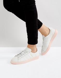 Светло-серые кроссовки на розовой подошве adidas Originals Campus - Белый