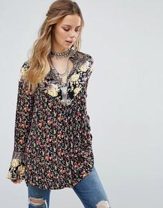 Блузка-туника с цветочным принтом Free People - Черный