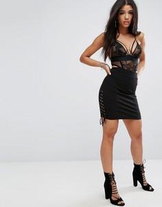 Облегающая юбка-карандаш в рубчик со шнуровкой по бокам Glamorous - Черный