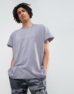 Сиреневая футболка классического кроя с вышивкой Mennace - Фиолетовый