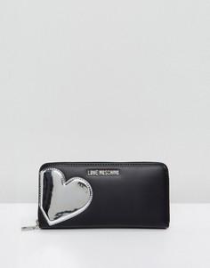 Кошелек с сердцем Love Moschino - Черный
