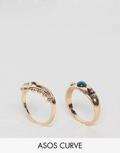 2 кольца с камнями ASOS CURVE - Золотой