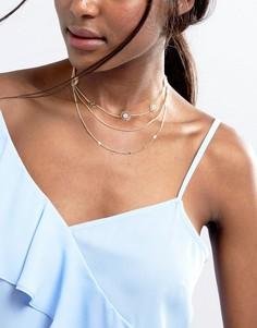Ожерелье-чокер в несколько рядов ASOS - Золотой