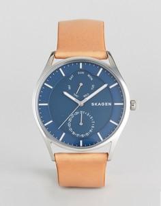 Часы со светло-коричневым кожаным ремешком Skagen SKW6369 - Рыжий