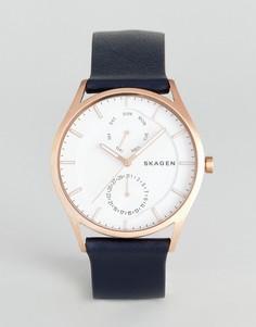 Часы с темно-синим кожаным ремешком Skagen SKW6372 - Темно-синий