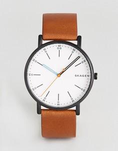 Часы с коричневым кожаным ремешком Skagen SKW6374 - Коричневый