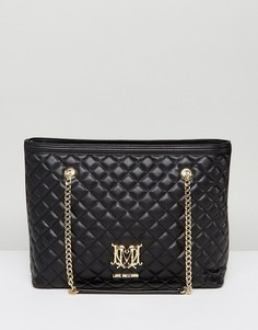 Стеганая сумка-шоппер с логотипом Love Moschino - Черный