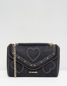 Замшевая сумка на плечо с цепочкой Love Moschino - Черный