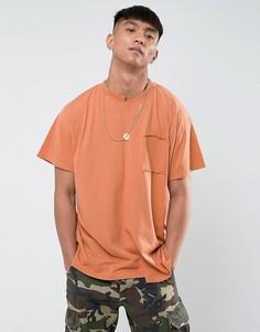 Футболка с заниженной линией плеч Mennace - Оранжевый