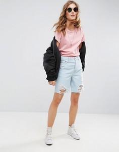 Светлые джинсовые шорты-бермуды с рваной отделкой ASOS - Синий