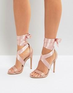 Атласные босоножки на каблуке с завязками New Look - Розовый