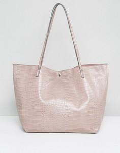 Сумка-шоппер с отделкой под кожу крокодила ASOS - Розовый