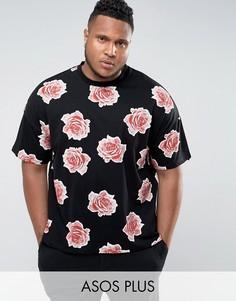 Oversize-футболка с цветочным принтом ASOS PLUS - Черный