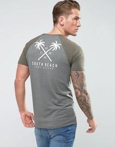 Длинная обтягивающая футболка с рукавами реглан и принтом на груди ASOS - Серый