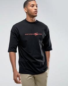 Свободная футболка с надписью ASOS - Черный