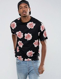Oversize-футболка со сплошным цветочным принтом ASOS - Черный