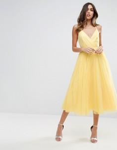 Платье миди из тюля ASOS - Желтый
