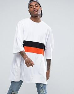 Белая супердлинная свободная футболка в стиле колор блок ASOS - Белый