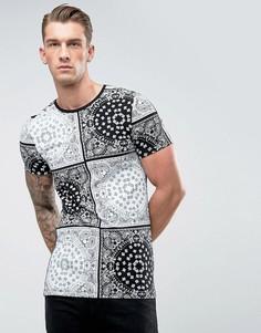 Удлиненная обтягивающая футболка с принтом пейсли ASOS - Черный