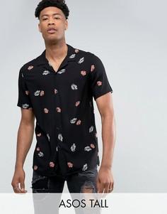 Вискозная рубашка классического кроя с отложным воротником и цветочным принтом ASOS TALL - Черный