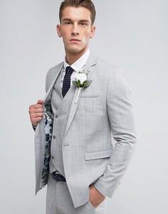 Светло-серый пиджак скинни с цветочным принтом на подкладке ASOS Wedding - Серый