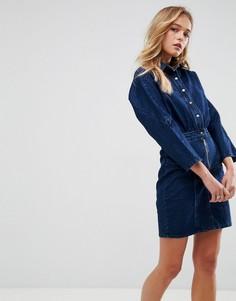 Синее джинсовое платье-рубашка ASOS - Синий
