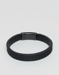 Черный фактурный кожаный браслет Emporio Armani - Черный