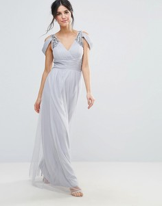 Платье макси с открытыми плечами и отделкой Little Mistress - Серый
