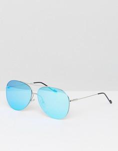 Солнцезащитные очки-авиаторы с синими стеклами Jeepers Peepers - Серебряный