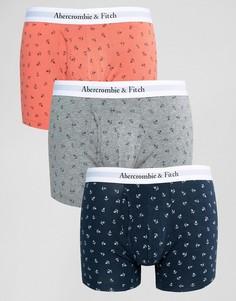 3 пары боксеров-брифов (коралловые/темно-синие/серые якори) Abercrombie & Fitch - Мульти