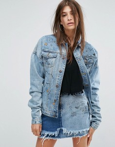 Джинсовая куртка с отделкой в стиле граффити Liquor & Poker - Синий