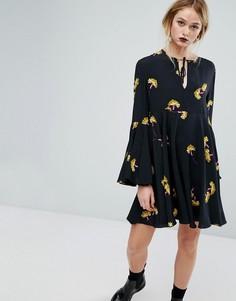 Платье с цветочным принтом и завязкой Sportmax Code - Черный