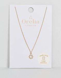 Ожерелье с кристаллами и подвеской в форме солнца Orelia - Золотой