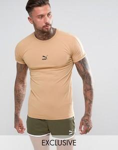 Светло-коричневая обтягивающая футболка Puma эксклюзивно для ASOS - Рыжий
