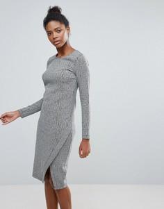 Платье с длинными рукавами и запахом Vila - Серый