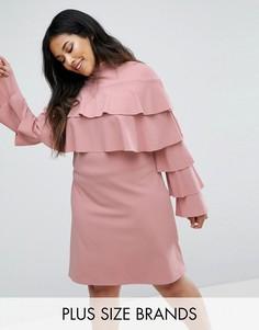 Платье с оборками Club L - Розовый
