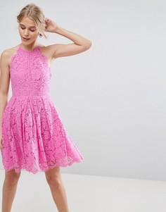 Кружевное платье мини для выпускного с фестонными краями ASOS - Розовый