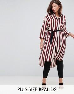 Платье-рубашка в полоску Elvi - Красный