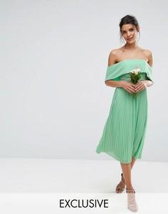 Платье миди с открытыми плечами, плиссированной юбкой и декоративной отделкой TFNC WEDDING - Зеленый