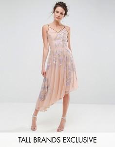 Асимметричное платье миди с глубоким вырезом на спине Frock And Frill Tall - Фиолетовый