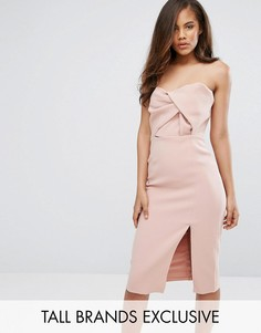 Платье миди бандо с большим бантом True Decadence Tall - Розовый