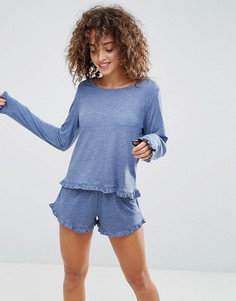 Пижамные шорты и лонгслив с оборками ASOS - Синий