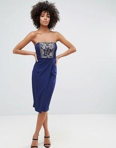 Облегающее платье с пайетками Little Mistress - Темно-синий